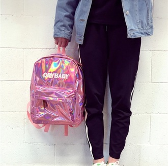 bag tumblr pink backpack holographic holographic bag crybaby crybaby metallic pink