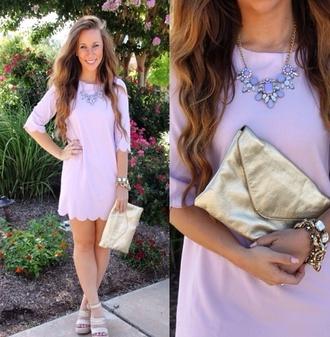 soft purple necklace bag purple dress pastel dress long sleeve dress short dress cute dress