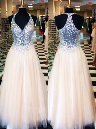 dress maxi dress glitter sparkle nude girly prom formal feminine dressofgirl evening dress v neck dress princess dress cream prom dress queen dress