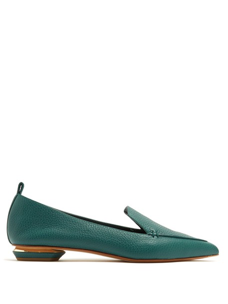 Nicholas Kirkwood loafers leather green shoes