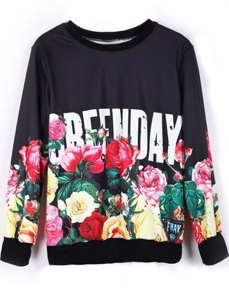 top green day black floral