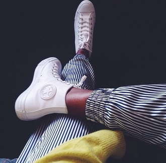 shoes white converse high tops high top sneakers canvas shoes pants white sneakers striped pants