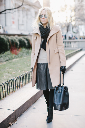 damsel in dior blogger gloves coat leather bag leather skirt winter outfits