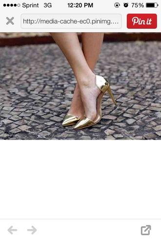 shoes gold pumps heels shiny high heels
