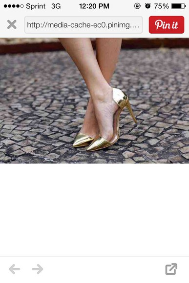 shoes pumps gold heels, high heels shiny