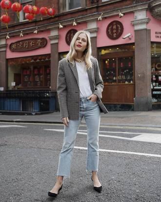 coat tumblr grey blazer blazer top white top denim jeans blue jeans shoes mid heel pumps gingham