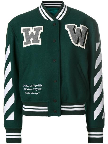 Off-White - varsity jacket - women - Wool/Polyamide/Polyester/Spandex/Elastane - 40, Green, Wool/Polyamide/Polyester/Spandex/Elastane
