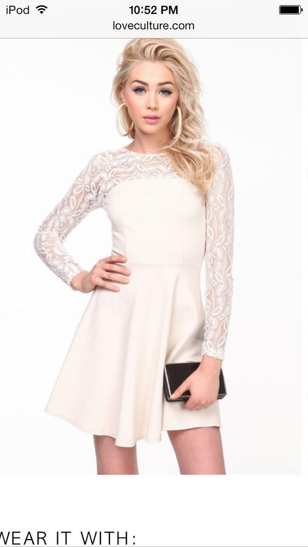 dress white long sleeve dress cute dress short party dresses long sleeve lace dress
