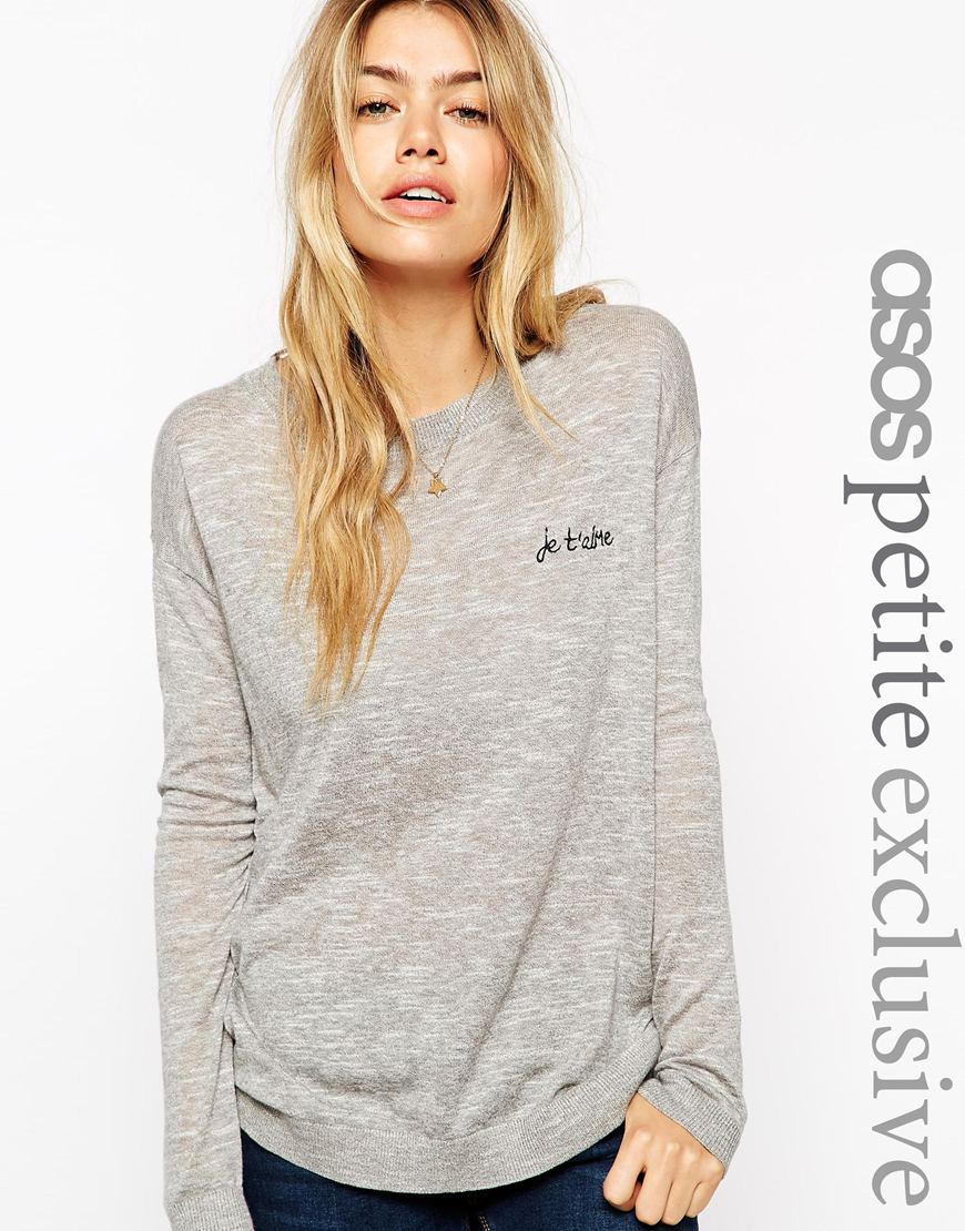 Asos petite jumper with je t'aime embroidery at asos.com
