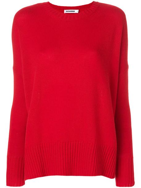 Jil Sander jumper loose women fit red sweater
