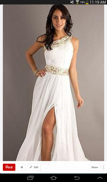 prom dress slit leg slit long slit dress white dress low boots long prom dress one shoulder pretty dress