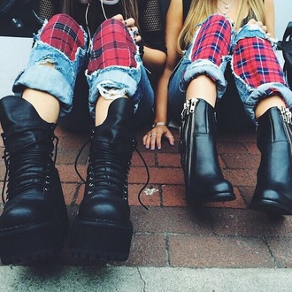 black shoes black boots boots lace up boots jeans grunge shoes