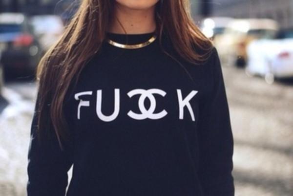 sweater black fuck chanel