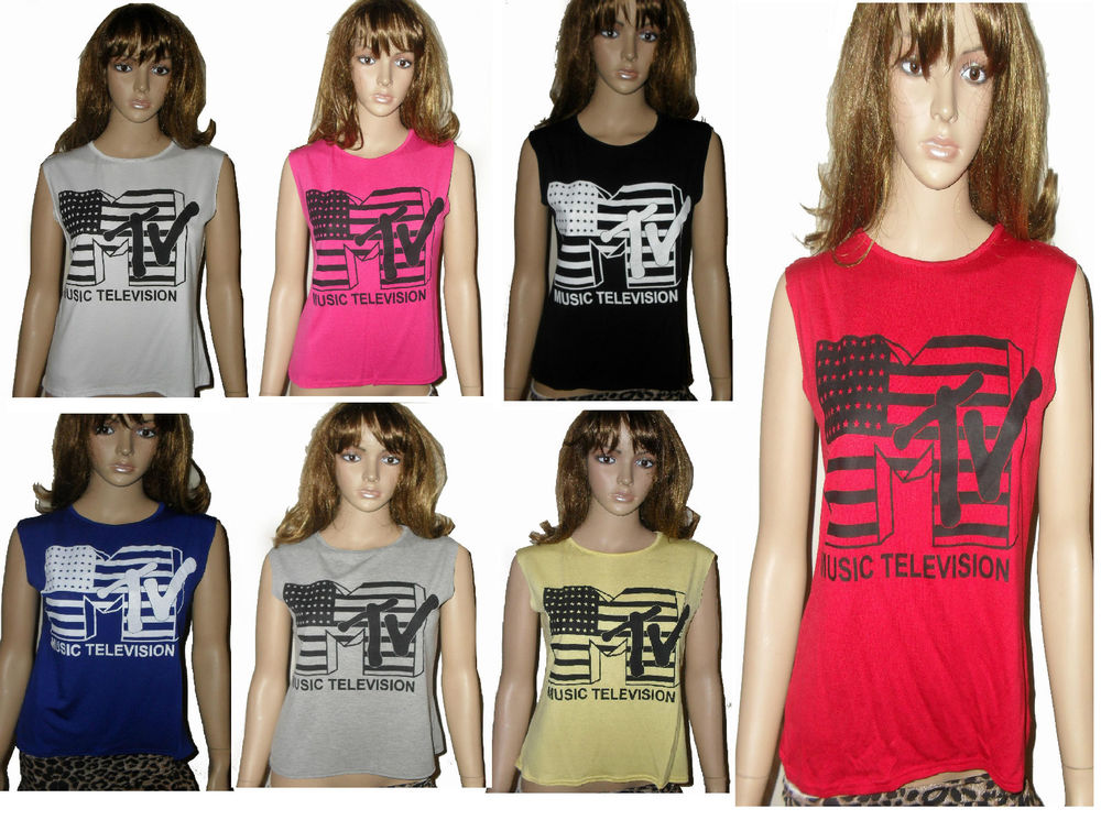 NEW MTV AWARDS CROP CROPPED TOP T-SHIRT IN 10 COLORS SIZES 6 8 10 12 14