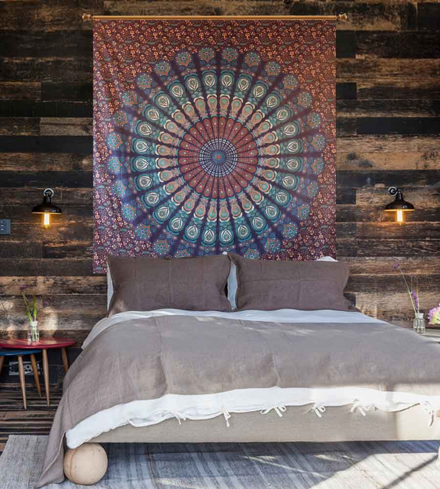 Indian mandala blue & brown wall hanging tapestry