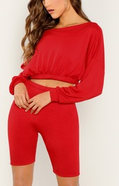 sweater,girly,girly wishlist,girl,red,cropped,crop,cropped sweater,bike shorts,two-piece