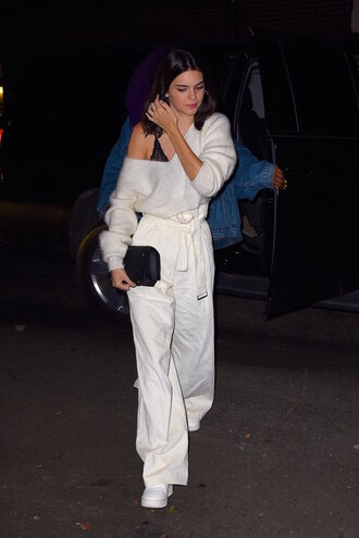pants wide-leg pants sweater kendall jenner top bralette clutch sneakers popsugar fashion blogger