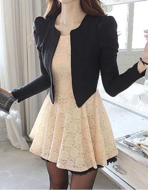 Jacket: black blazer and cream colored dress with lace ...