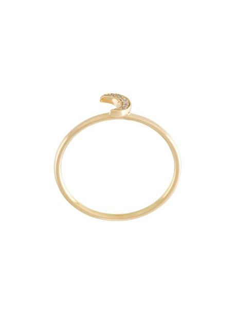 LOQUET women moon ring gold yellow grey metallic jewels