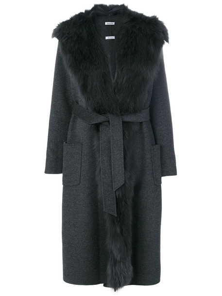P.A.R.O.S.H. coat long coat long open fur fox women wool grey