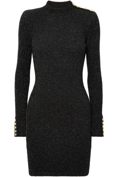 Balmain dress mini dress knitted mini dress mini metallic black