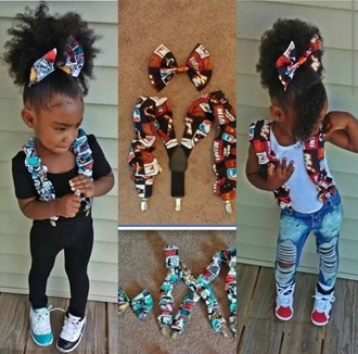 belt girl kids fashion destroyed jeans suspenders bows hair bow