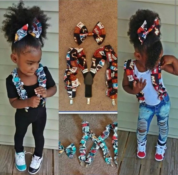 hair bow Belt girls kids fashion destroyed jeans suspenders bows