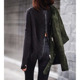 sweater tumblr grey sweater long sleeves open back backless backless sweater jacket suede jacket green jacket jeans black jeans fall outfits