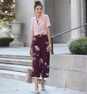 shirt,tumblr,pink shirt,pants,cropped pants,floral,floral pants,sandals,sandal heels,high heel sandals,bag,shoes