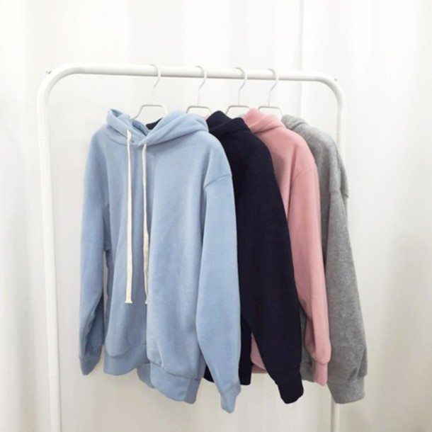 Sweater: hoodie jacket, pink, blue, pastel, grey, black, oversized ...