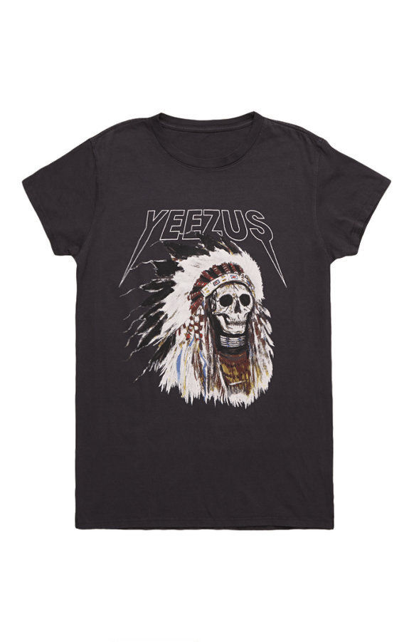 Kanye west yeezus tour merch indian chief skeleton headress t shirt shirt m