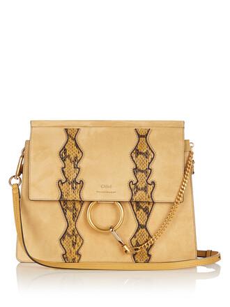 bag shoulder bag leather light yellow