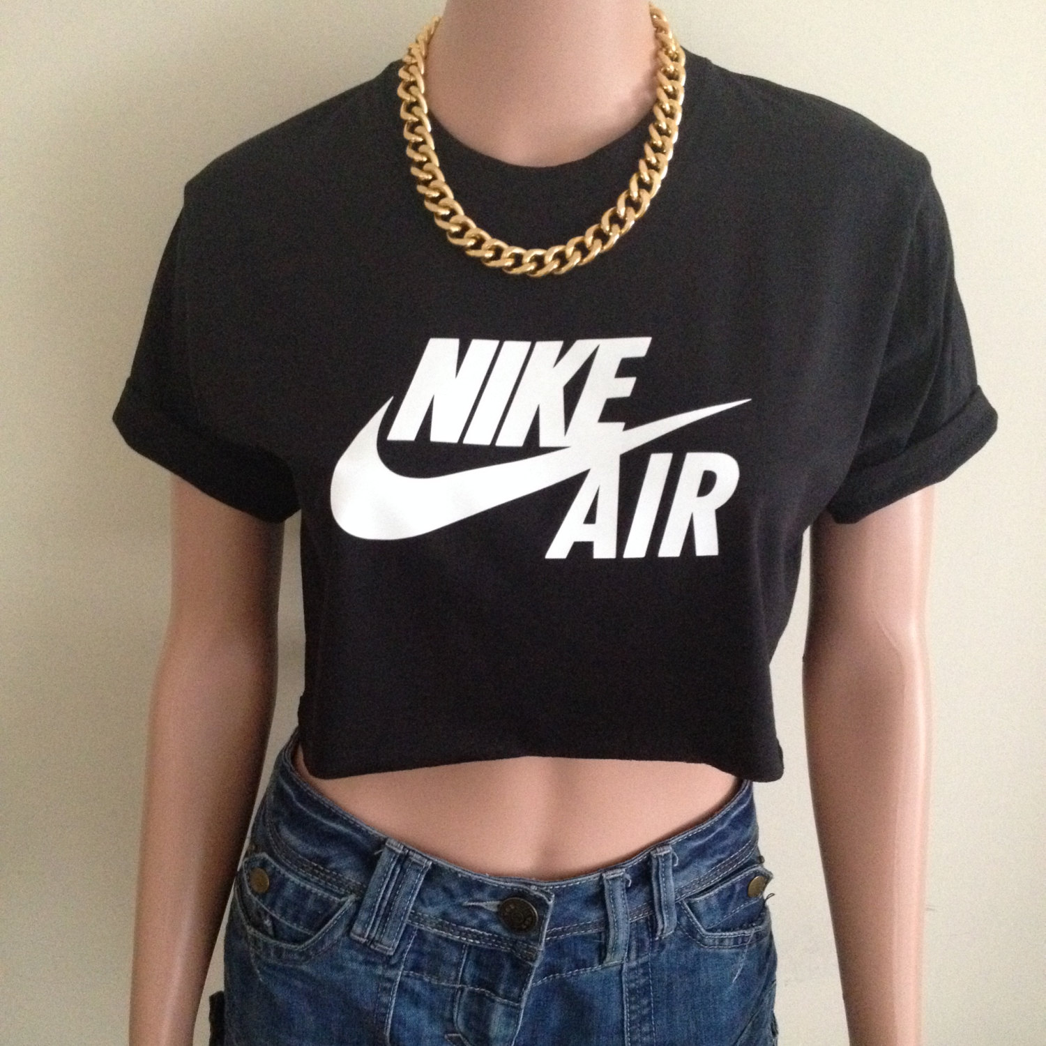 nike air max short sleeved black crop top tee t shirt hipster. Black Bedroom Furniture Sets. Home Design Ideas