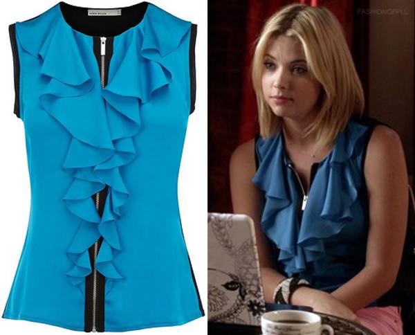 blouse pretty little liars hanna marin ruffle blue zip