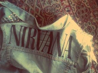 jacket nirvana stud studded jacket studded studs nirvana jacket denim vest shirt band jacket blue denim wash