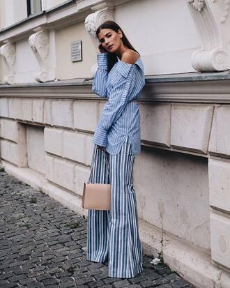 pants tumblr wide-leg pants stripes striped pants shirt blue shirt off the shoulder off the shoulder top bag nude bag top