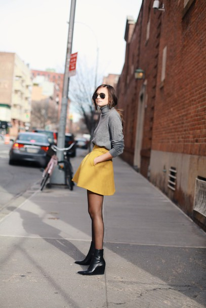 we wore what blogger skirt mustard turtleneck grey sweater winter outfits sweater shoes grey turtleneck top yellow