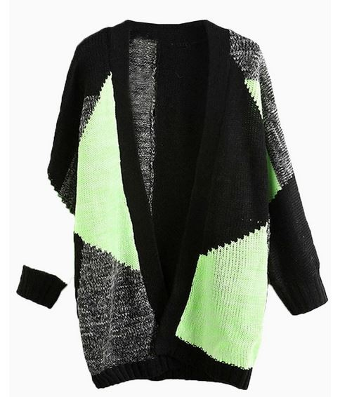 Multi Color Green Loose Fit Cardigan
