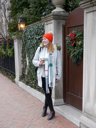 kristinadoestheinternets blogger coat hat scarf sweater jeans shoes bag jewels beanie ankle boots winter outfits