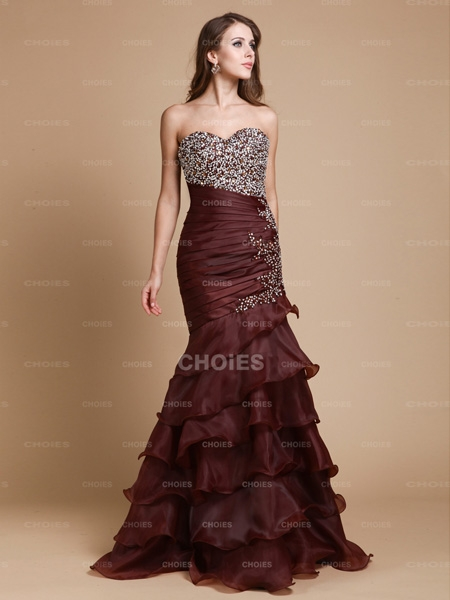 Attractive Trumpet/Mermaid Sweetheart Beading Floor-Length Sleeveless Organza Dresses | Choies