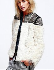jacket,winter coat,winter jacket,fur,fur coat,white fur,nordic,white jacket,beaded,rivet,brand,casual,chic,fashion,fashion jacket,preppy,musthave,girly,white top,winter outfits,free p,coat,36683,free people,white fur coat,white furry jacket,furry coat,rivet jacket,rivets,casual chic,fashionable jacket