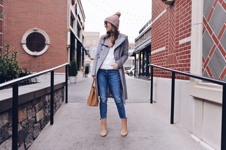 ohsoglam blogger coat sweater jeans shoes scarf hat sunglasses bag winter outfits beanie ankle boots handbag