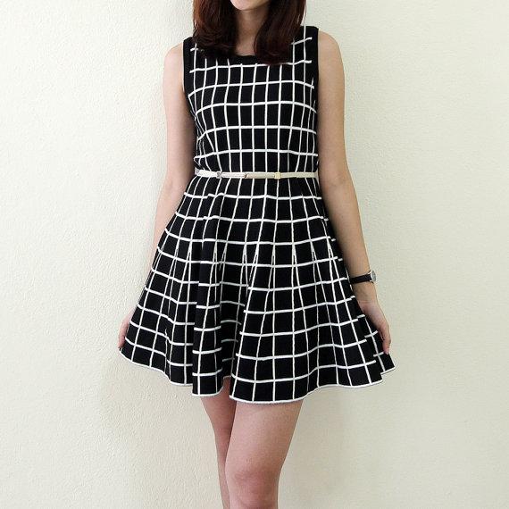 Day dress black and white dress womens blouse tunic by freya4freya
