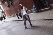 feral creature,blogger,jacket,jeans,shoes,jewels,spring outfits,denim jacket,boots,blue boots