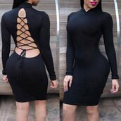 dress,bodycon dress,bodycon,curvy,stylish,long sleeve dress,black dress,lace up,backless,rose wholesale,clutch,clubwear,club dress,nightwear,all black everything,style,open back,strappy,sexy,fashion,hot,trendy,criss cross,long sleeves,midi dress,turtleneck,clothes
