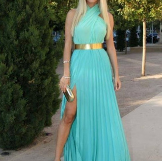 dress blue gold metal belt cross maxi maxi dress turquoise blue dress green dress long mint belt goldish