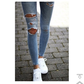 jeans skinny jeans ripped jeans light blue jeans girls sneakers