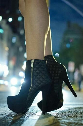 shoes quilted boots heels black ankleboots