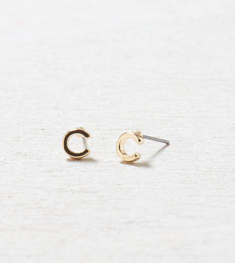 AEO C Studs, Gold | American Eagle Outfitters