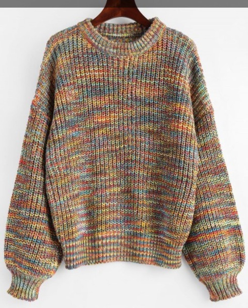 sweater girly colorful knitwear knit knitted sweater jumper oversized sweater fall sweater